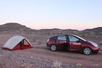 Prius/ tent combo in the CA desert