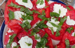 my favorite summer treat. Homegrown tomatoes, basil, homemade mozzarella